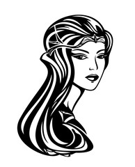 beautiful queen with long gorgeous hair - black and white art nouveau style vector portrait