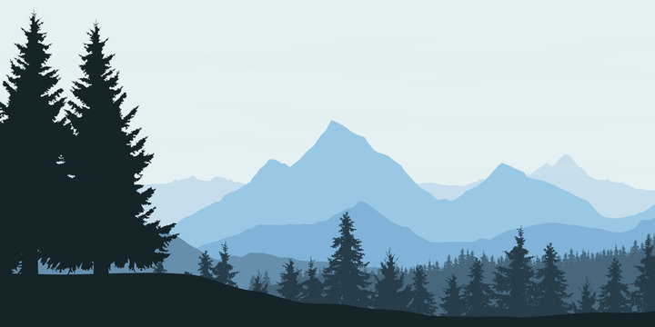 Panoramic view of mountain landscape with forest and hill under blue sky with clouds - vector
