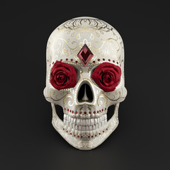 High-detailed 3d render of Calavera, or Sugar Skull. Human skull decorated with roses in the orbits, ruby gemstones and carved floral ornaments, filled with gold. Celebration of The Day of the Dead.