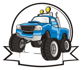monster, truck, monster truck, big foot car, big foot, extreme, auto, motor racing, motor, cartoon, transport, car, bumper, big, up,  driving, outside driving, wheel, blue, clean, icon, banner, ribbon