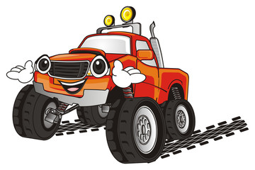 monster, truck, big foot, extreme, auto, motor racing, motor, cartoon, transport, car, bumper, big, up,  driving, outside driving, wheel, blue, long, tracks, face, emotion, smile, hands, happy,