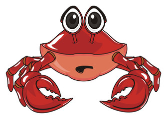 crab, claw, shell, cartoon, marine life, ocean,  red, pink, surprise, not happy, opened mouth