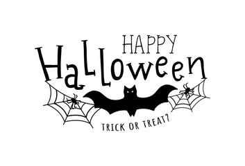 Happy halloween. Vector illustration with web, spider and bat. Trick or treat