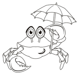 crab, claw, shell, cartoon, marine life, ocean, coloring, paint, not colored, umbrella