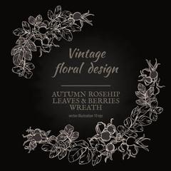 Floral plant botany elements. Line hand drawn vector illustration for design greeting card or Invitation.