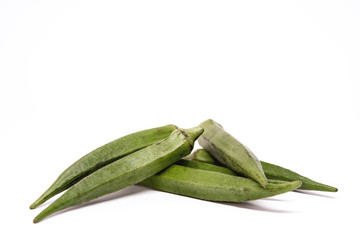 Lady Fingers or Okra. White isolated background. Space for text