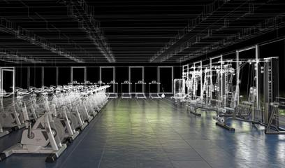 Centro Fitness, Palestra, Sport, illustrazione 3d