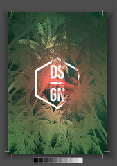 Tropical Palm Tree Retro Mosaic Summer Holiday Poster - Vector Illustration.