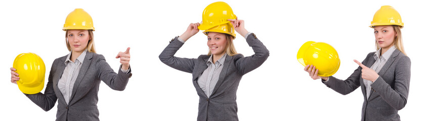 Businesswoman in gray suit and safety helmet isolated on white