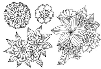 Black and white set of doodle flower elements for design or coloring
