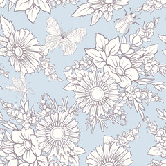 Floral seamless pattern with butterflies and bees in realistic botanical style.  Stock vector illustration. In vintage blue colors