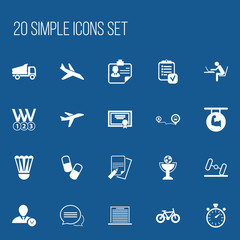 Set Of 20 Editable Complicated Icons. Includes Symbols Such As Aircraft, List, Navigation And More. Can Be Used For Web, Mobile, UI And Infographic Design.