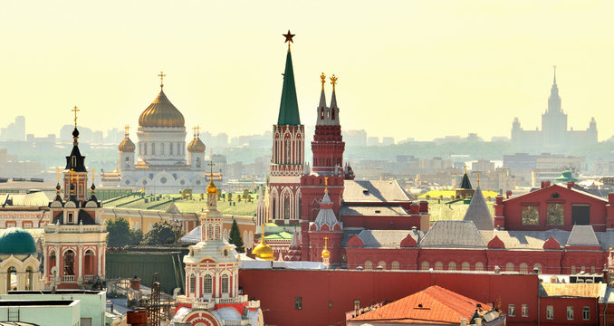 Aerial view of a popular landmark, Kremlin, Moscow, Russia during the day.