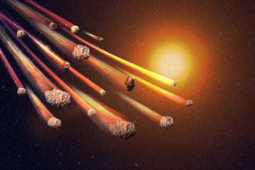 The Falling Meteor Rain. Comet in space, meteor and energy, asteroid glow. Dramatic apocalyptic background - judgment day, end of world, asteroid impact. 3D llustration.