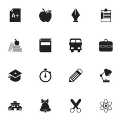 Set Of 16 Editable School Icons. Includes Symbols Such As Apple, Literature, Lighting And More. Can Be Used For Web, Mobile, UI And Infographic Design.