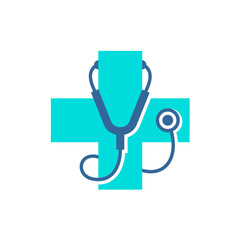 Medical care cross logo with stethoscope equipment