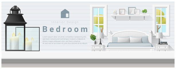 Interior design with table top and Modern bedroom background , vector , illustration