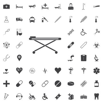 stretcher with wheels icon. vector sign symbol Icon black icon on the white background medicine, medical set Flat vector illustration.