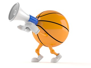 Basketball character speaking through a megaphone