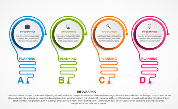 Abstract infographic with light bulb. Infographics for business presentations or information banner.