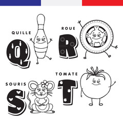 French alphabet. Skittles, wheel, mouse, tomato. Vector letters and characters