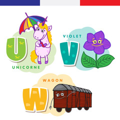 French alphabet. Unicorn, violet, rail car. Vector letters and characters