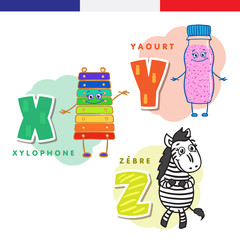 French alphabet. Xylophone, yogurt, zebra. Vector letters and characters