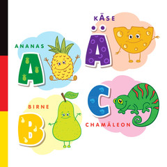 Deutsch alphabet. Pineapple, cheese, pear, chameleon. Vector letters and characters
