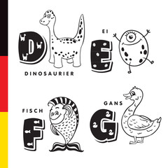 Deutsch alphabet. Dinosaur, egg, fish, goose. Vector letters and characters
