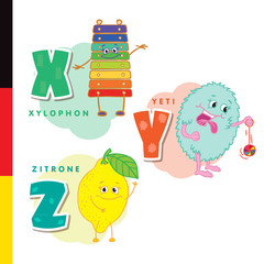 Deutsch alphabet. Xylophone, Yeti, lemon. Vector letters and characters.