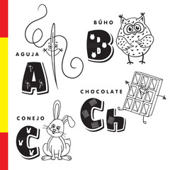 Spanish alphabet. Needle, owl, chocolate, rabbit. Vector letters and characters.