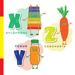 Spanish alphabet. Xylophone, carrots, yogurt. Vector letters and characters.