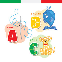 Italian alphabet. Needle, whale, dog. Vector letters and characters.