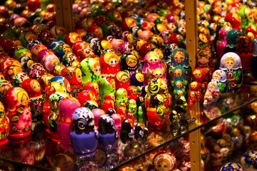 Showcase in the souvenirs shop with slavic nesting dolls.