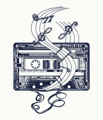 Audio cassette and music notes tattoo and t-shirt design. Symbol of retro music, nostalgia, 80th and 90th. Old audio cassette and music notes, symbol of pop music, disco t-shirt design