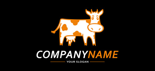Logo Cow Funny black and Orange. Vector illustration.