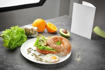 Modern photo studio during shooting food