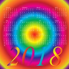 2018 calendar with rainbow colors da're