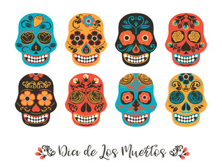 Dia de los muertos. Day of The Dead. Vector illustration of skulls