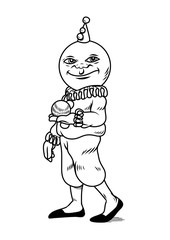 Clown with spherical head, like a moon. Vector illustration. Nice for coloring books or tattoos