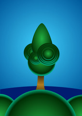An lonely magic tree in font of the sea. Vector illustration