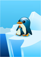 Two penguins. A penguin with his baby in the south pole. Vector illustration