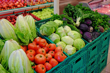 Assortment of delicious vegetables at market