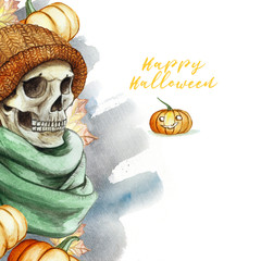 watercolor drawing in the theme of Halloween dull human skull in orange knitted warm woolen hat and green scarf, against the background of red pumpkins and autumn maple leaves, background watercolor