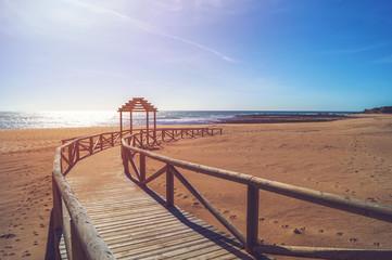 Wooden walkway at Trafalgar beach - Cape of Trafalgar, Andalusia, Spain