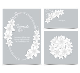 Gray background with white flowers