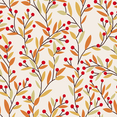 Seamless vector autumn pattern with red and orange berries and leaves. Fall colorful floral background. Elegant floral seamless pattern.