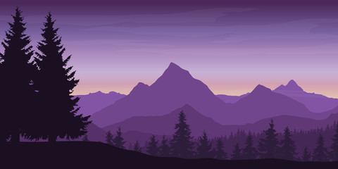 Panoramic view of mountain landscape with forest and hill under violet sky with dawn and clouds - vector