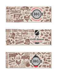 Vector barbecue, grill and steak house banners