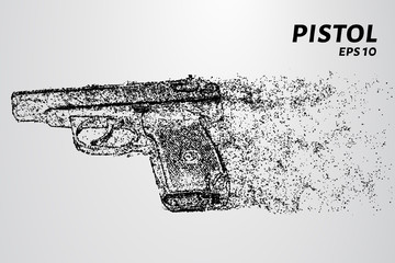 The pistol of the particles. The gun consists of dots and circles. Vector illustration.